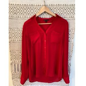 Red Express Longsleeve Button-down Blouse